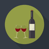 Wine bottle and clink glasses wine glasses. Stock Image