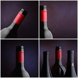 Wine bottle collage - four images. Four studio images of wine bottles Stock Photo