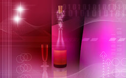 Wine in bottle with colour Royalty Free Stock Photos