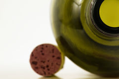 Wine bottle and cork. Abstract wine bottle and cork side by side with plenty of room on left for whatever is needed Stock Image