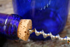 Wine Bottle Cork and Corkscrew Royalty Free Stock Photos