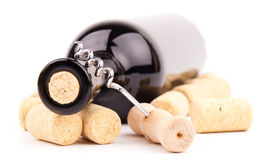 Wine bottle and corks Royalty Free Stock Photography