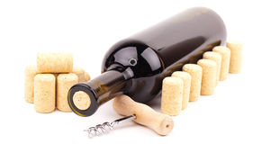 Wine bottle and corks Stock Photography