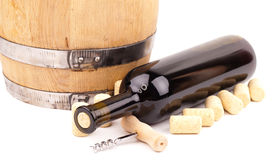 Wine bottle and corks Stock Images