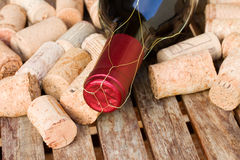 Wine bottle and corks Royalty Free Stock Photo