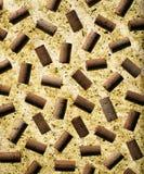 Wine bottle corks arranged on cork background Stock Photo
