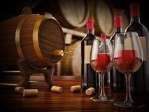 Wine bottle, corks, glasses and barrel. 3D illustration. Wine bottle, corks, glass and barrel 3D illustration Royalty Free Stock Image