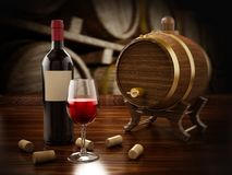 Free Wine Bottle, Corks, Glasses And Barrel. 3D Illustration Royalty Free Stock Photos - 101743518
