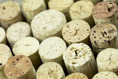 Wine Bottle Corks macro closeup with Staggered Heights Stock Image