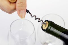 Wine bottle and corkscrew Royalty Free Stock Images