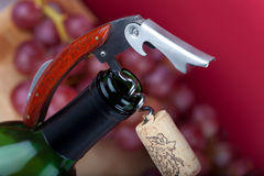 Wine Bottle with Corkscrew Stock Photo