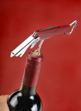 Wine bottle with corkscrew Royalty Free Stock Photography