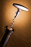 Wine bottle and corkscrew Royalty Free Stock Photo