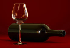 Wine bottle. And empty glass Royalty Free Stock Images