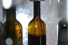 Wine bottle filling along conveyor belt in bottling factory Royalty Free Stock Photography