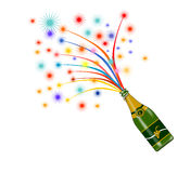 Wine bottle with fireworks Royalty Free Stock Photo