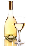 Wine bottle and glass. Over white ackground Royalty Free Stock Photography