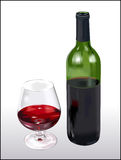 Wine Bottle and Glass. With red wine.  Isolated against a white background Royalty Free Stock Image
