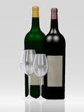 Wine. A wine bottle and glass Stock Photos