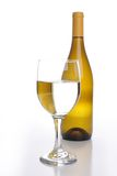 Wine bottle with a glass Stock Photography