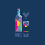 Wine Bottle and Glass - Abstract Illustration Stock Photos