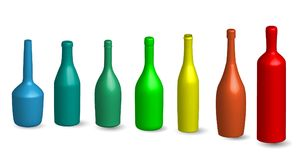 Wine bottle, glass bottels silhouette in various type 3D Wine bottle, glass bottels silhouette in various type mock up in colored. Bottle, glass bottels Stock Photos
