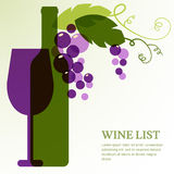 Wine bottle, glass and branch of grape with leaves. Stock Image