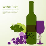 Wine bottle, glass and branch of grape with leaves. Stock Images