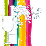 Wine bottle, glass, branch of grape with leaves and rainbow stri Stock Photography