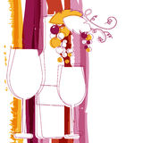Wine bottle, glass, branch of grape and marsala stripes watercol Royalty Free Stock Photos