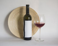 Wine bottle with glass of cabernet  wine Stock Photo