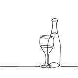 Wine bottle and glass contour. Continuous line drawing. Wine bottle and glass contour. Black outline vector vector illustration
