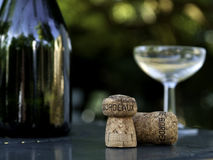 Wine bottle, glass and cork in bordeaux france. Wine bottle, glass and cork on garden table in bordeaux france Royalty Free Stock Photography