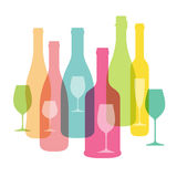 Wine bottle and glass cup flat icon design, vector illustration Stock Images