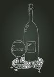 Wine Bottle And Glass With Doodle. Chalk Sketch Royalty Free Stock Photo