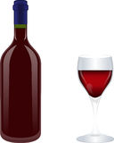 Wine bottle with glass, drink Stock Photo