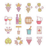 Wine bottle, glass, grape vine and leaf, food and drink Stock Photography