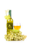 Wine bottle, glass and grapes. Isolated on white background Royalty Free Stock Image