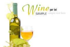 Wine bottle, glass and grapes. Isolated on white background Stock Photos
