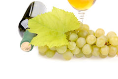 Wine bottle, glass and grapes. Isolated on white background Stock Photography