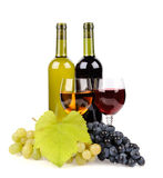 Wine bottle, glass and grapes Royalty Free Stock Photos