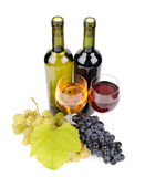 Wine bottle, glass and grapes. Isolated on white background Stock Images