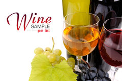 Wine bottle, glass and grapes. Isolated on white background Royalty Free Stock Photos