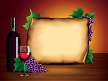 Wine bottle, glass, grapes and blank paper Royalty Free Stock Photography