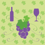 Wine bottle glass and grapes. Illustration with a bottle glass and grapes Royalty Free Stock Photo