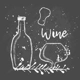 Wine. Bottle and glass. Hand drawing Stock Images