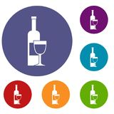 Wine bottle and glass icons set. In flat circle red, blue and green color for web Stock Photography