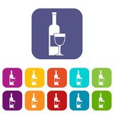 Wine bottle and glass icons set flat Stock Photo