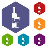 Wine bottle and glass icons set hexagon Royalty Free Stock Photography