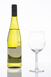 Wine bottle and glass isolated Royalty Free Stock Photography